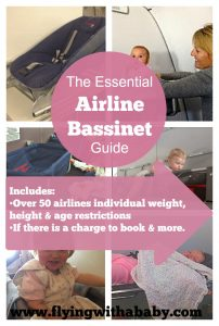 airplane bassinet, Airline bassinet guide to over 50 airlines height, weight and age restrictions.