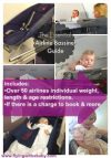 airline bassinet seat guide. The table below, depicts the essential airline bassinet seat information– including the restrictions and measurements, plus extra tips and information for over 50 airlines. All researched and updated regularly to help you make an informed decision before you book your flight. #flyingwithbaby, #flyingwithababy, #flyingwithatoddler, #familytravel, #traveltips,#airlinebassinet