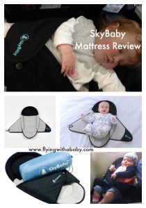 SkyBaby Review. The SkyBaby mattress is ideal for young babies travelling on a plane- espeically when no bassinet is available. It is a comfortable mattress to give baby a comfortable place to sleep, whilst ensuring your arms don't get as tired as the weight is more evenly spread out. it is also easier to move baby from person to person without disturbing them.