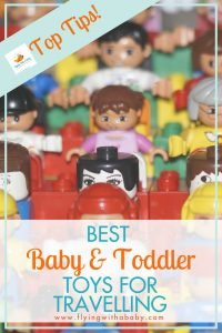 Best Baby And Toddler Travel Toys In this post you will find tried and tested travel toys for children on flights and car journeys. The baby travel toys are listed first, followed by toddler toys. Included are some cheap and easy to make options too. #traveltoys #familytravel #flyingwithababy