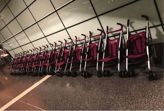 Qatar Airways strollers at Doha Airport, Qatar