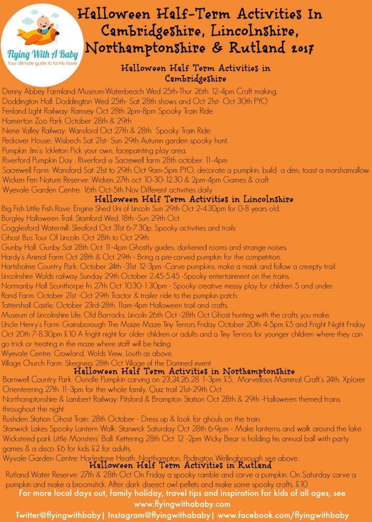 Halloween half Term Activities for cambridgeshire, Lincolnshire , Northamptonshire & Rutland