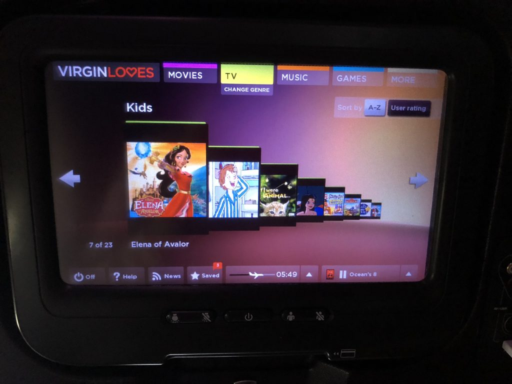 virgin atlantic economy review TV, movies