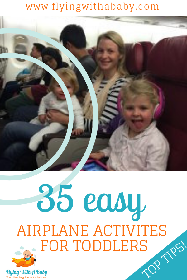Airplane activities for toddlers| Easy airplane activities for toddlers to help keep them entertained on board, especially handy on a long haul flight with a toddler. Includes free printables, games, tech, snack and toy ideas. #familytravel