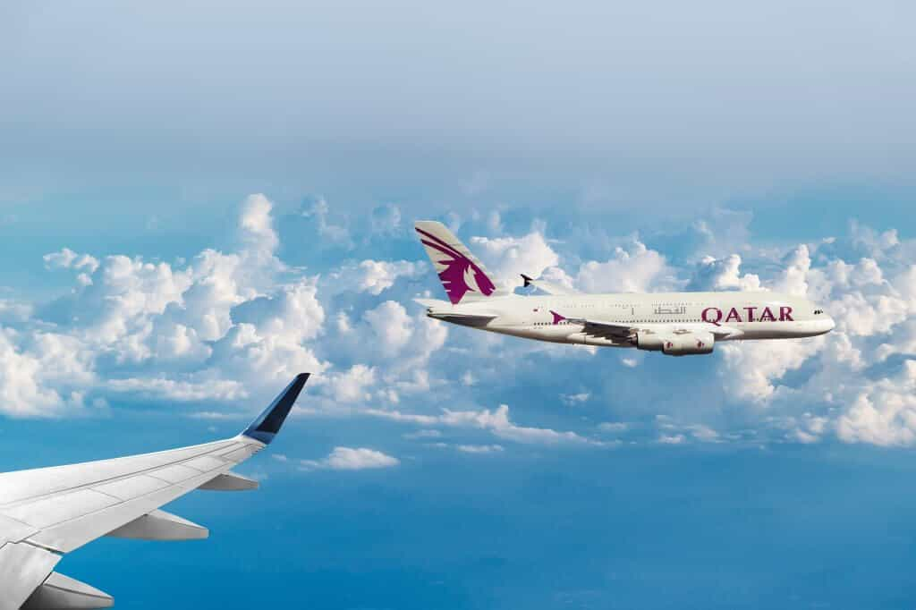 flying with a baby qatar airways plane
