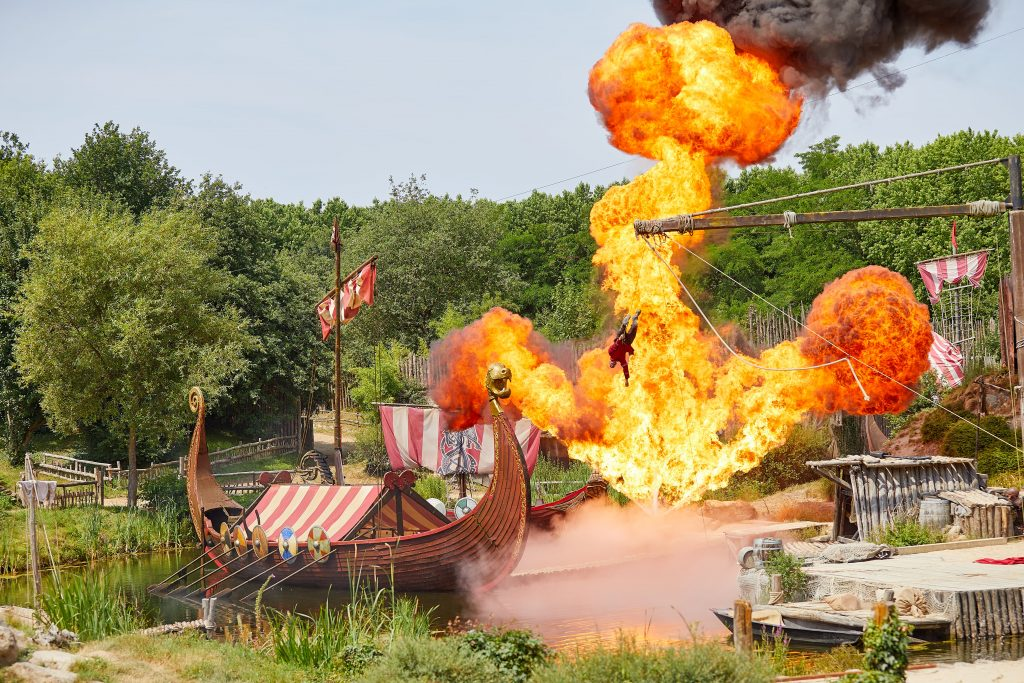 Vikings attack, ship on fire Puy du Fou with kids
