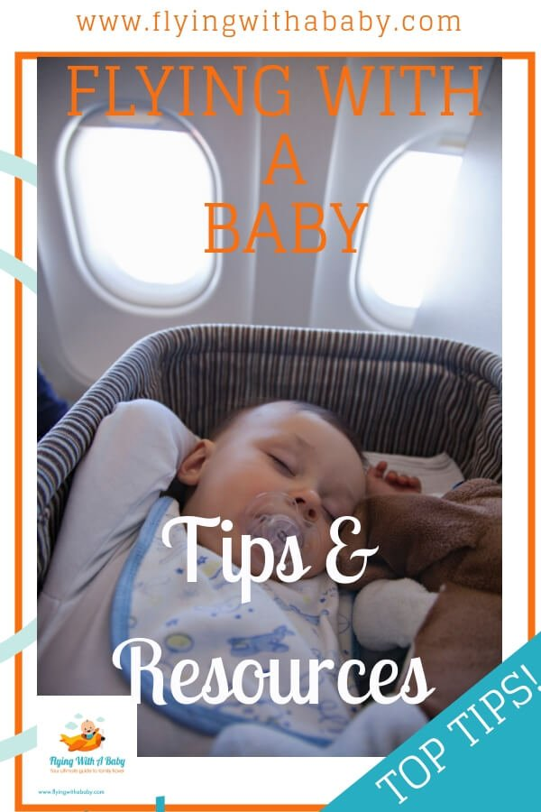 Flying With A Baby Tips and Resources Pin with baby in a bassinet