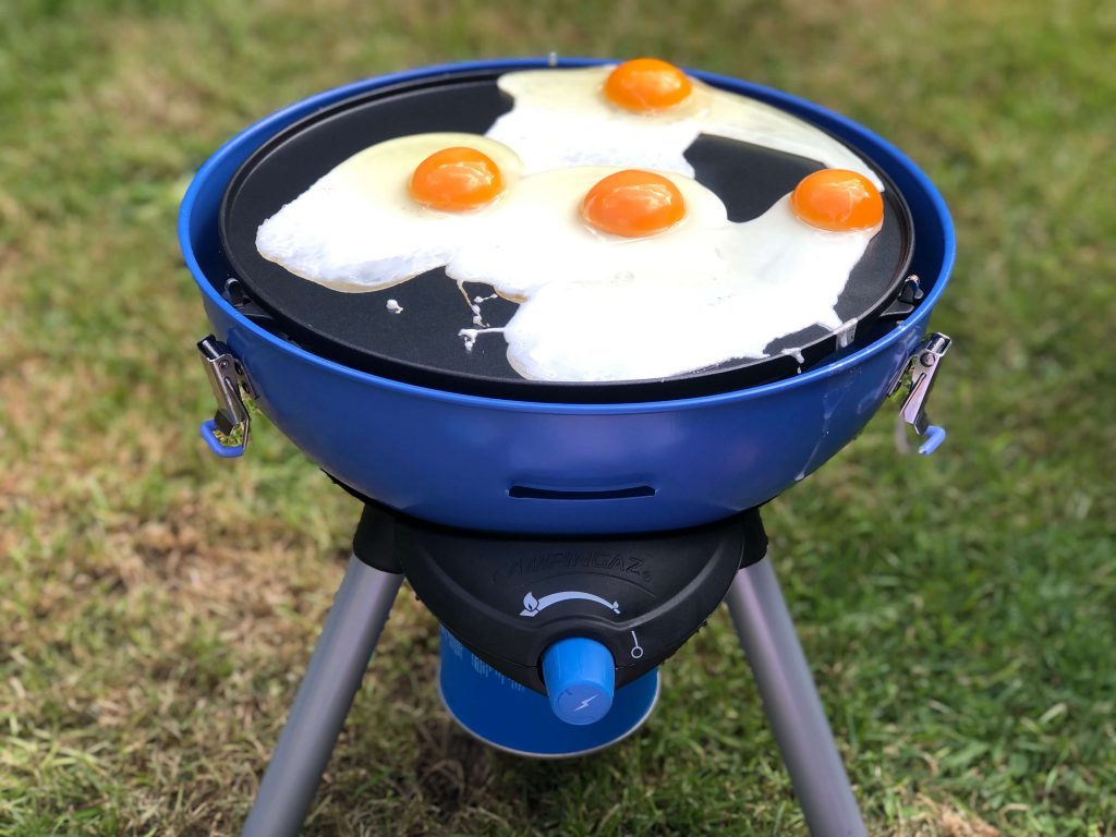 Camping Stove with Grill with eggs