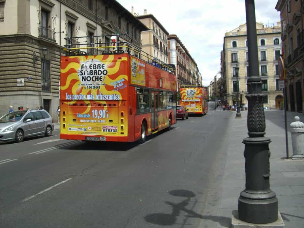 hop on hop off bus - a fun thing to do in Madrid with kids