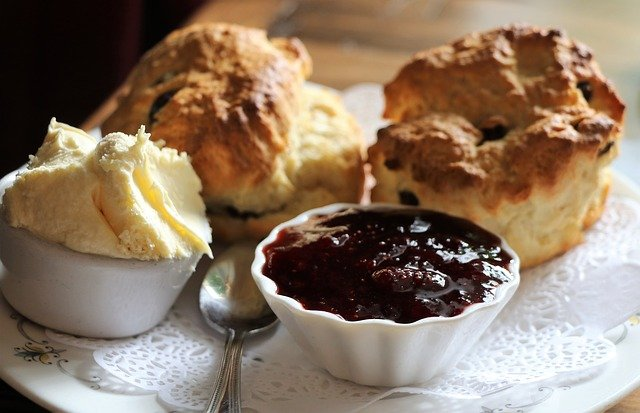 Clotted cream and jam with scones