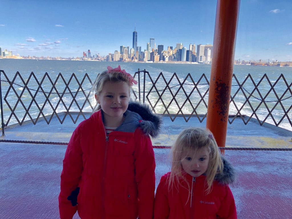 The New York winter skyline from the free Staten Island Ferry