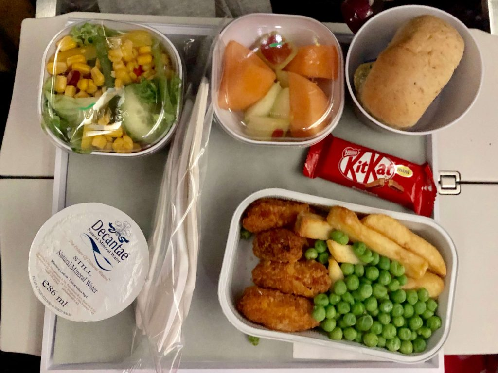 Thai airways child meal chicken nuggets and chips