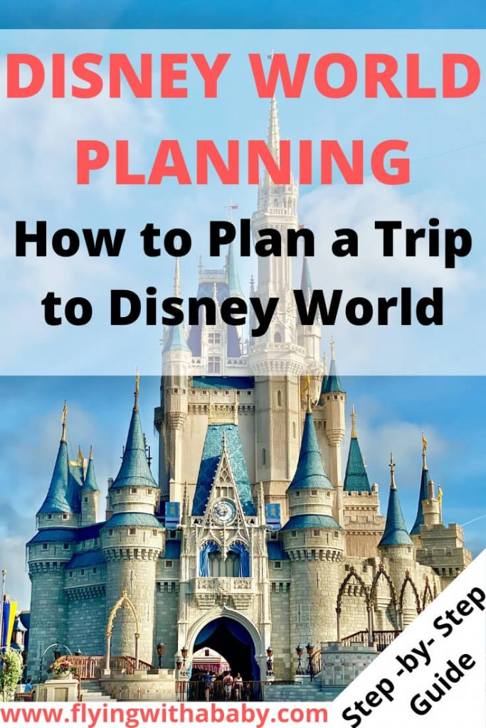 Disney Planning | How to Plan a Trip to Disney World information pin with a photo of Cinderella's Castle at WDW