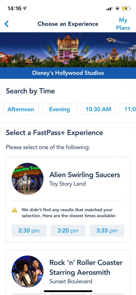 seelcting a fast pass Plus option  at Disney World