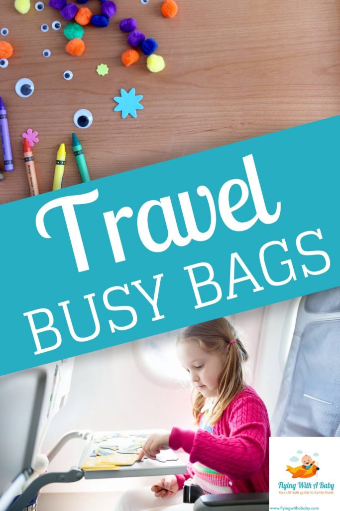 Girl on a plane with her travel busy bag activity pack