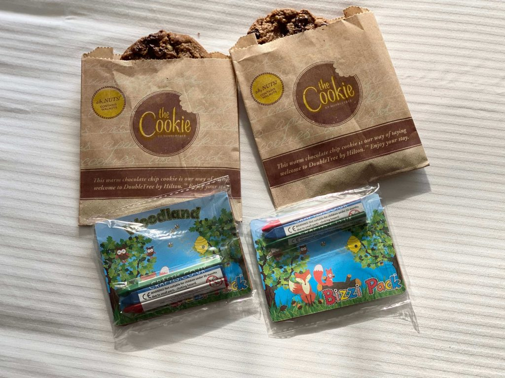 Our welcome cookies and kids' pack at the doubletree Hilton Cheltenham