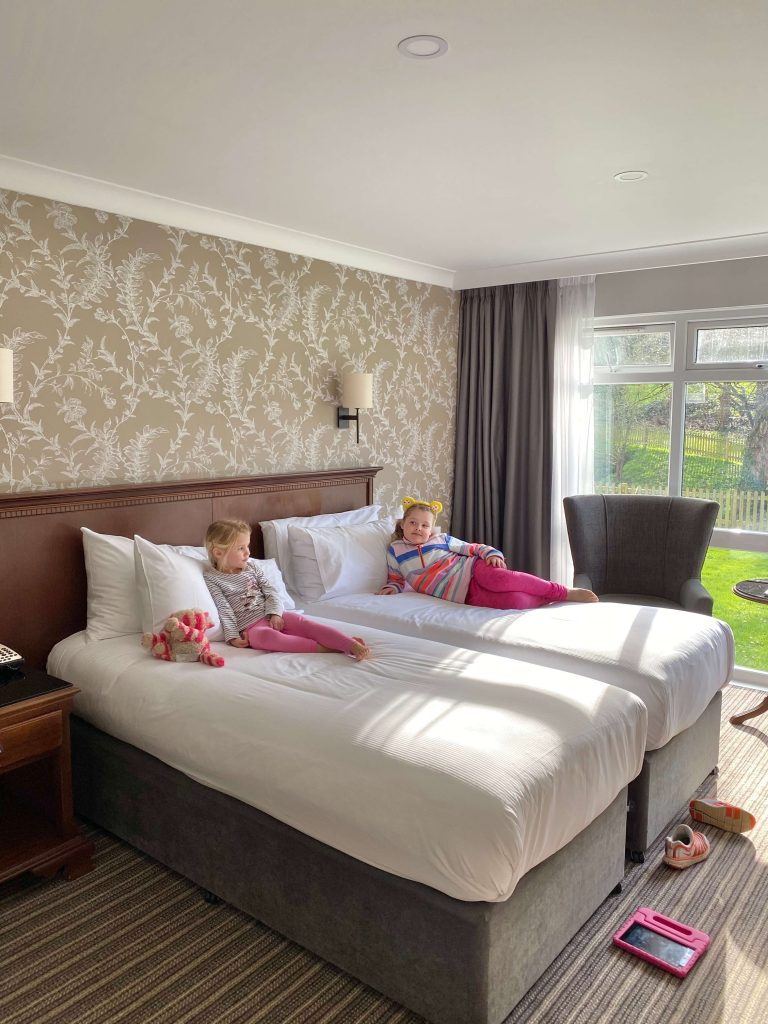 A dog friendly twin room at the Double Tree Cheltenham