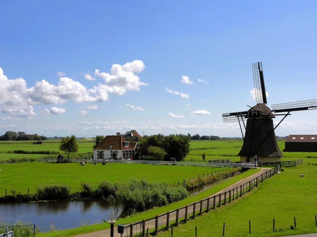 Windmill in the Countryside in The Netherlands