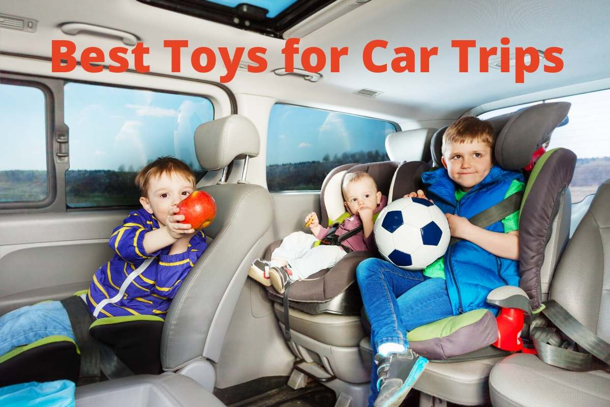 kids with toys in a car
