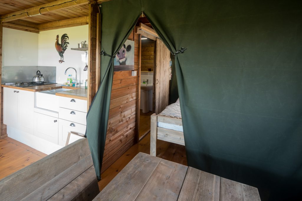 Downstairs in the Glamping Lodge at Boswarthen Farm. Copyright Boswarthen Farm