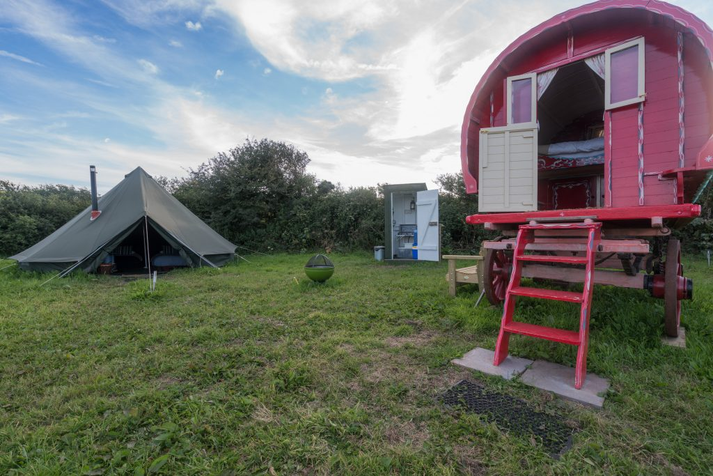The Gypsy Caravan & Bell Tent at Boswarthen Farm, Cornwall  Copyright Boswarthen Farm