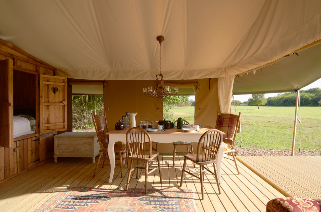 Inside the Luxury Lodge Tent at Secret Meadows. Copyright Secret Meadows