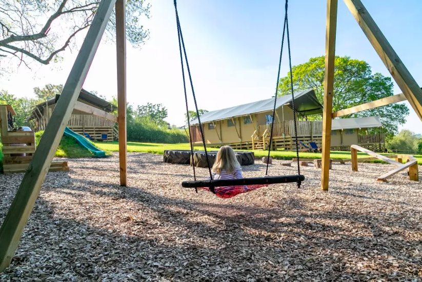 Play area at Valleyside Escapes - family glamp site