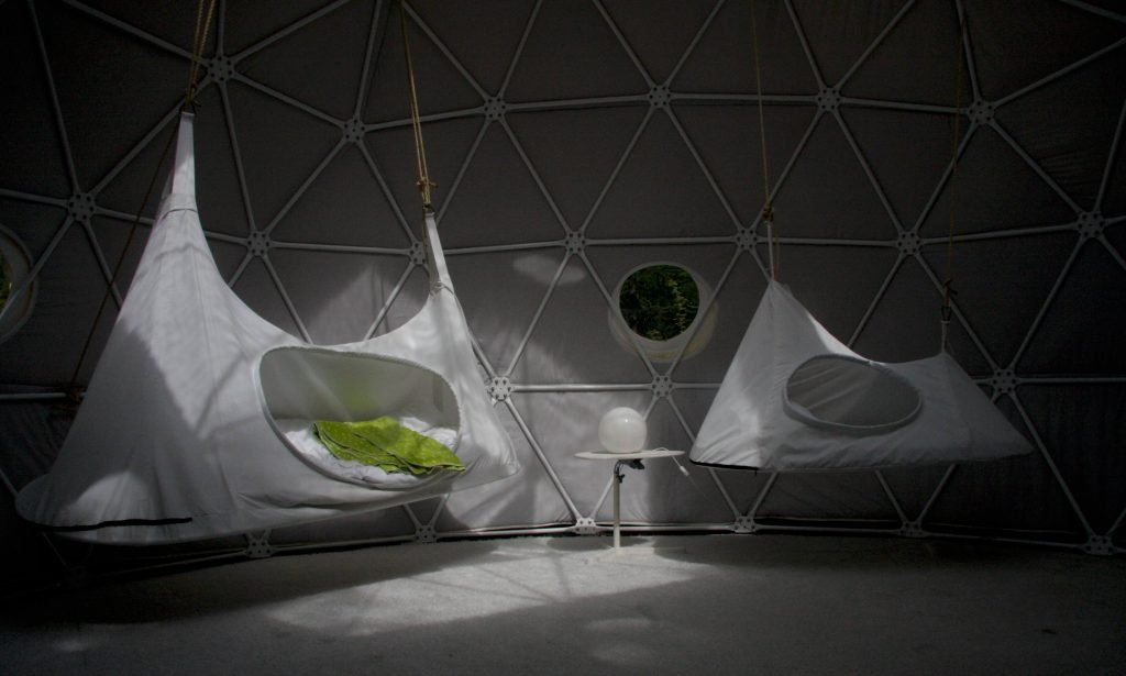 Hanging suspended beds at Dome Garden, copyright Dome Garden