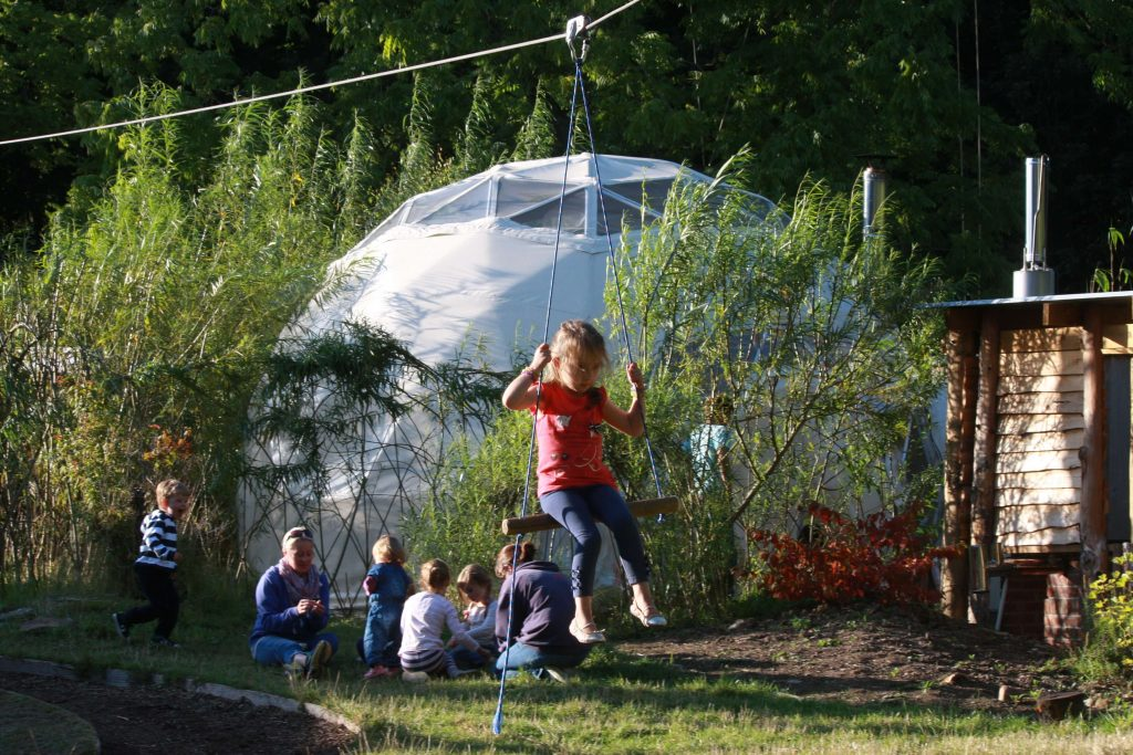Zipwire fun when Glamping With Kids at Dome Garden - Copyright Dome Garden