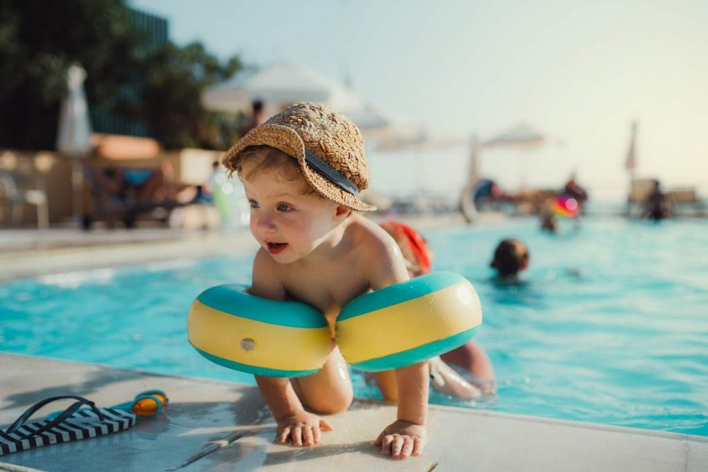 pool in Spain with a toddler