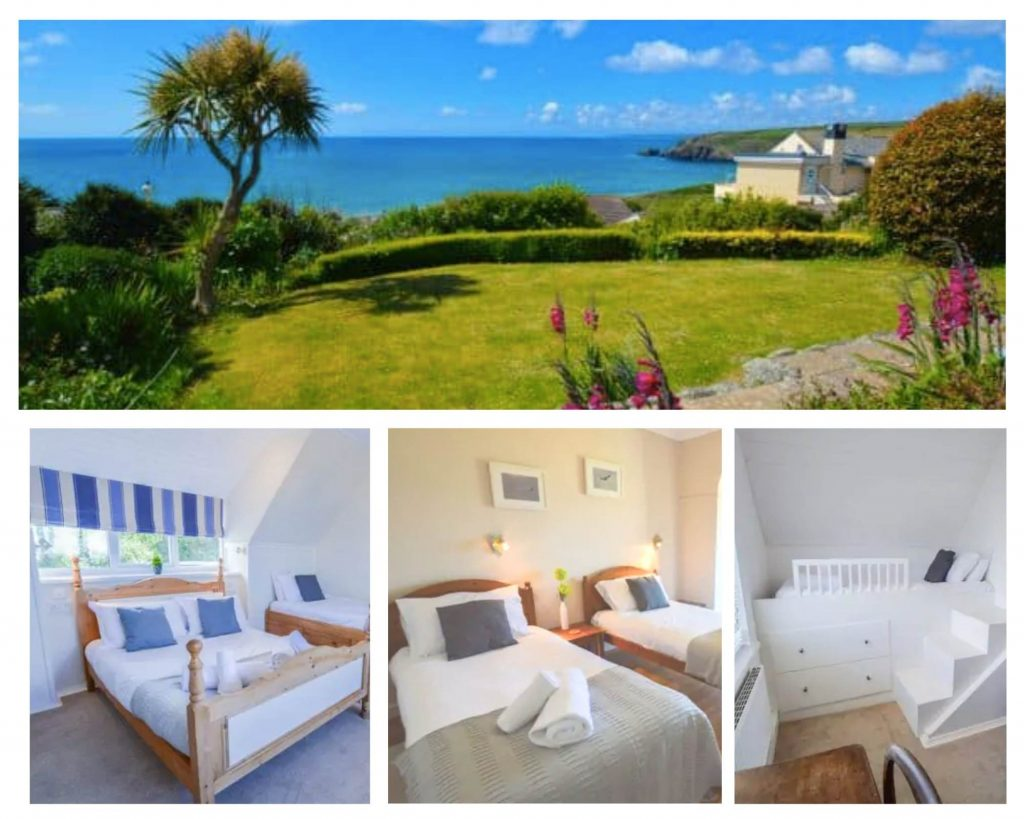 beach accommodation cornwall with view of the sea