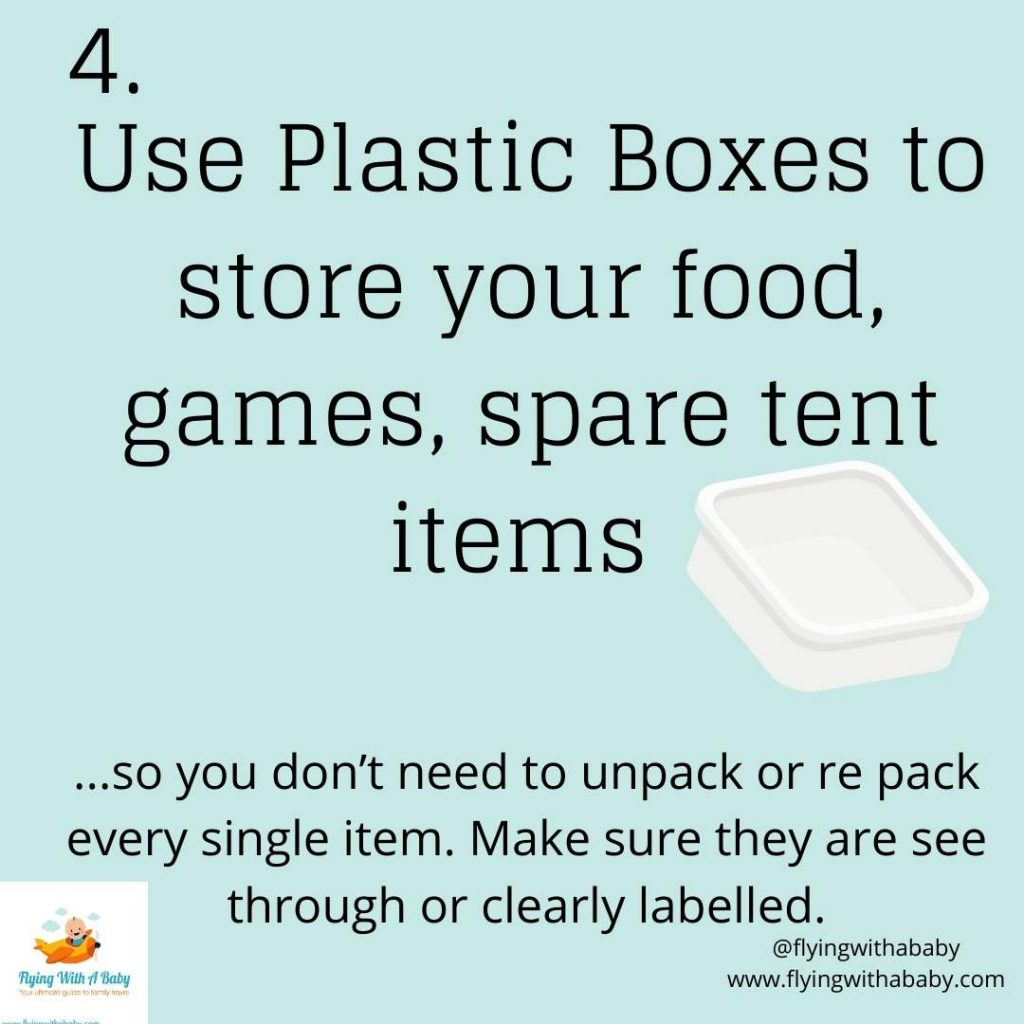 hacks tips for camping with kids plastic boxes