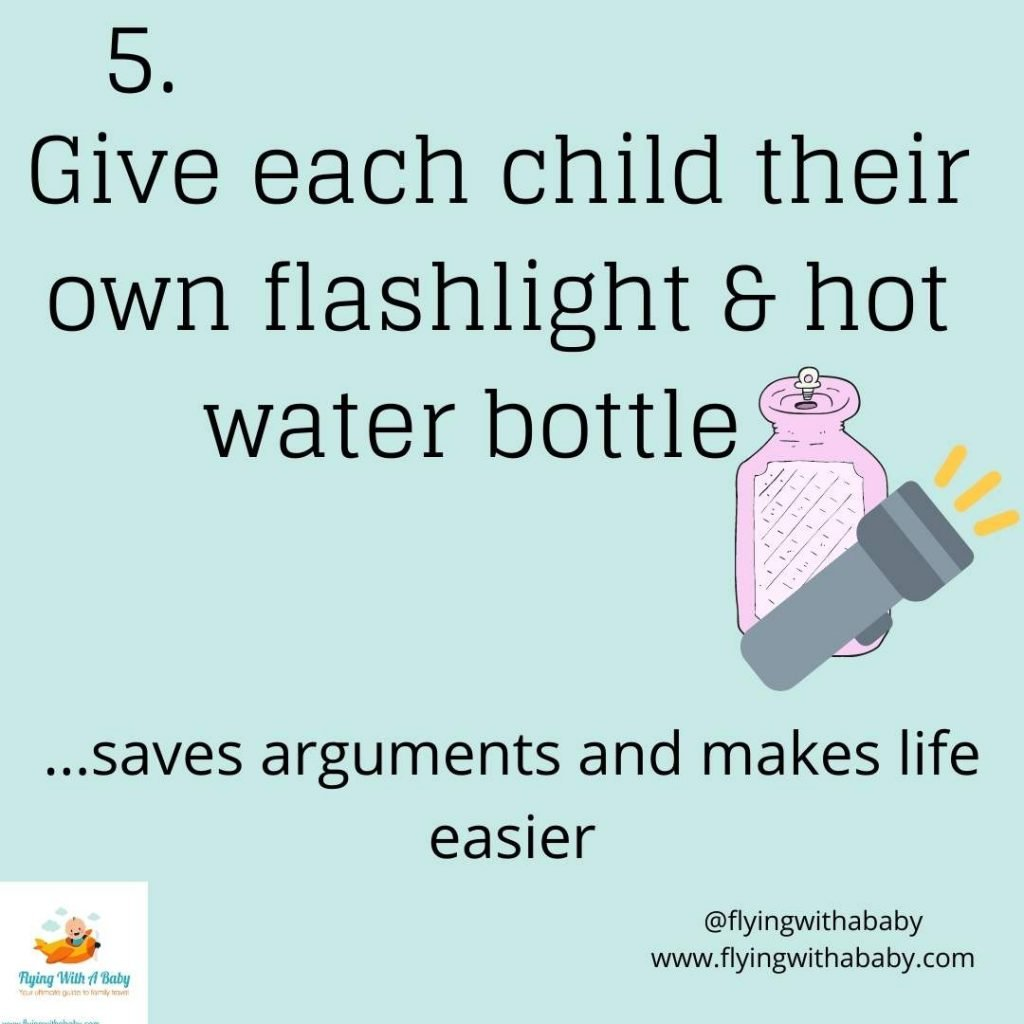 hacks tips for camping with kids - give each kid a flashlight and hot water bottle