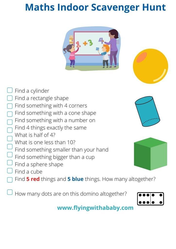 Maths indoor scavenger hunt for toddlers, preschoolers, Kindergarten, Reception