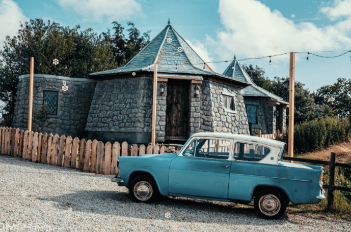 Harry Potter themed places to stay. Grounds Keepers Cottage with the Weasley's car- Image courtesy of North Shire, Liverton, North Yorkshire