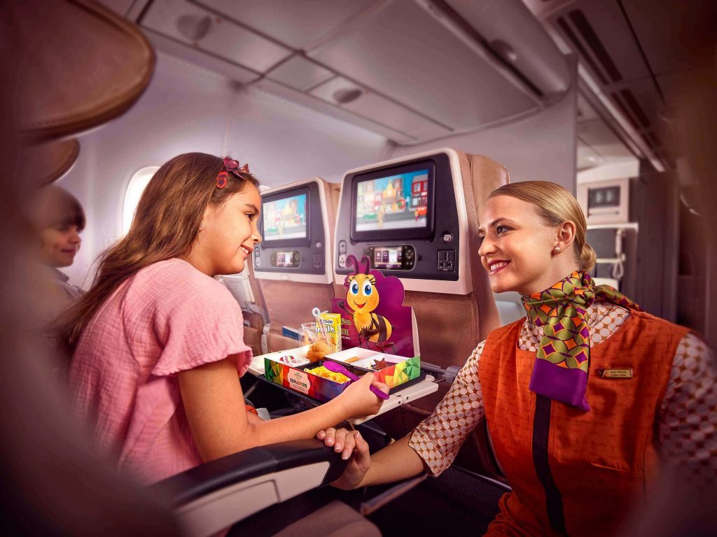 Etihad have a Sky Nanny on board to assist with little ones, Etihad Airways Flying With Kids